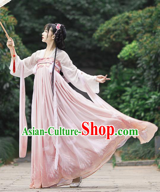 Chinese Ancient Cosplay Game Fairy Princess Pink Dress Traditional Hanfu Imperial Consort Costume for Women