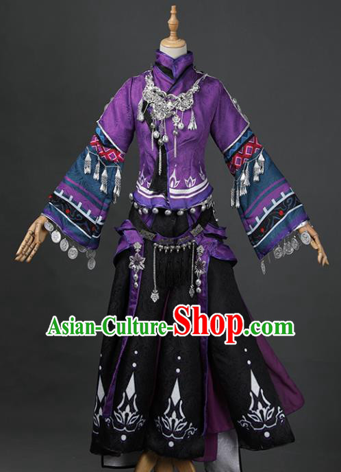 Chinese Ancient Cosplay Fairy Swordsman Purple Dress Traditional Hanfu Princess Costume for Women