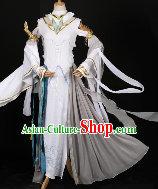 Chinese Ancient Cosplay Fairy Court Lady White Dress Traditional Hanfu Princess Costume for Women