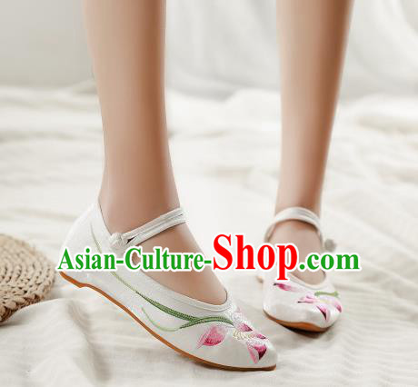 Asian Chinese Traditional Dance Embroidered Lotus White Shoes Hanfu Wedding Shoes National Cloth Shoes for Women