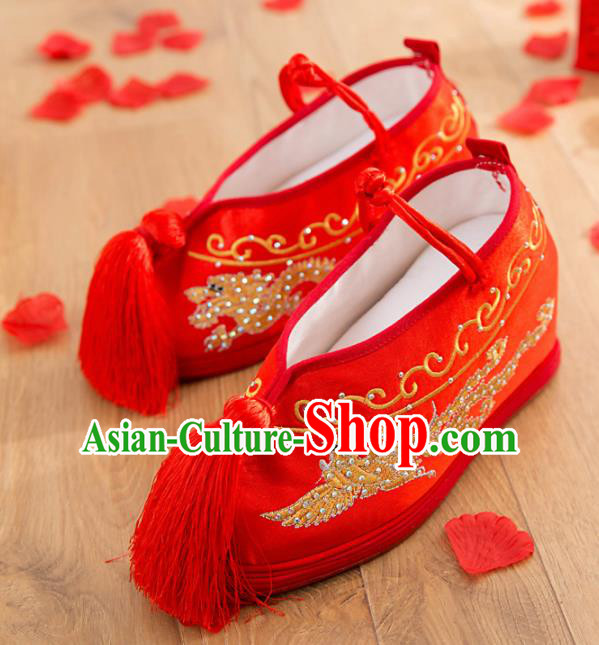 Asian Chinese Wedding Red Embroidered Phoenix Shoes Ancient Princess Shoes Traditional Hanfu Shoes for Women