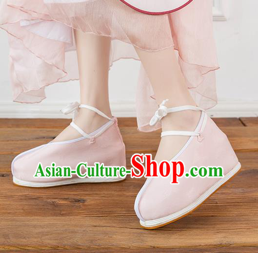 Asian Chinese Traditional Pink Cloth Shoes Ancient Princess Shoes Hanfu Shoes for Women