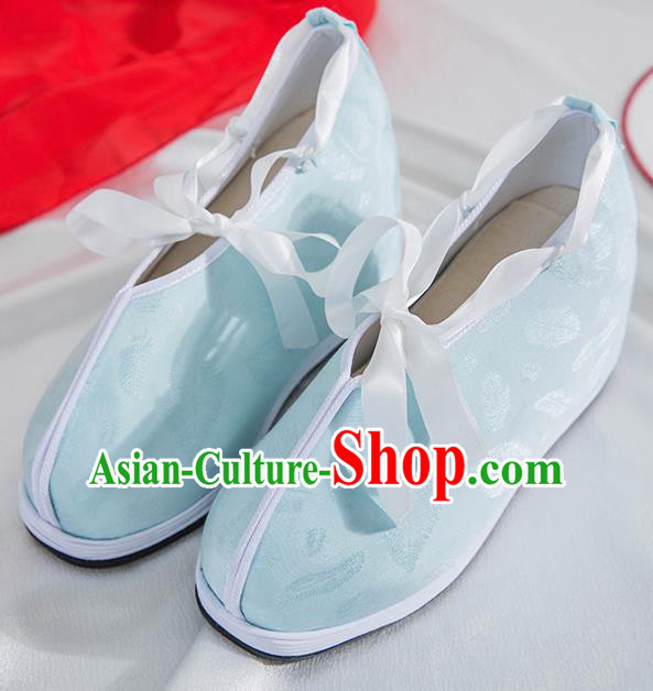 Asian Chinese Traditional Light Green Cloth Shoes Ancient Princess Shoes Hanfu Shoes for Women
