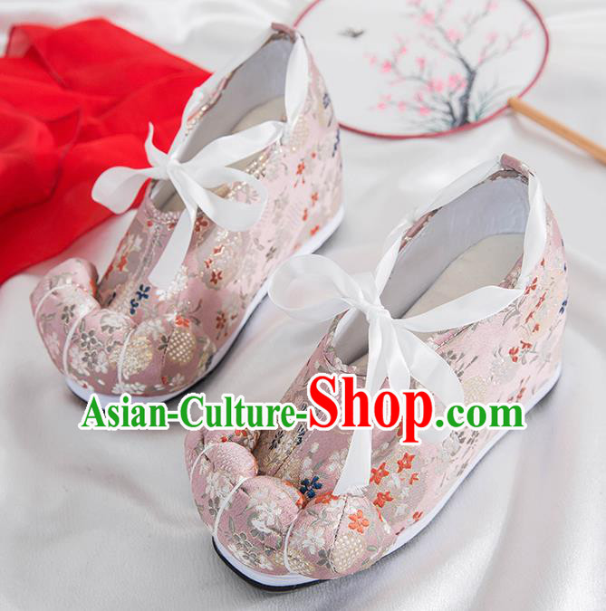 Asian Chinese Traditional Pink Satin Shoes Ancient Princess Wedding Shoes Hanfu Shoes for Women