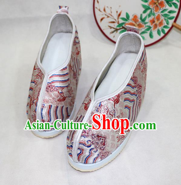Asian Chinese Traditional Pink Blood Stained Shoes Ancient Princess Wedding Shoes Hanfu Shoes for Women