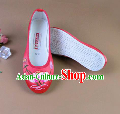 Asian Chinese National Embroidered Lotus Red Shoes Ancient Princess Satin Shoes Traditional Hanfu Shoes for Women