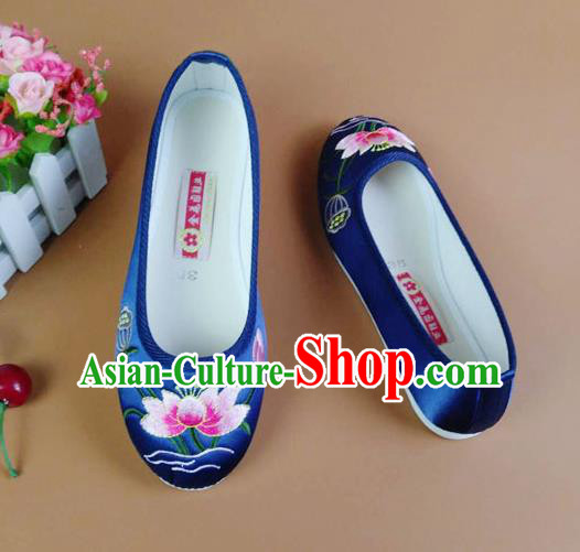 Asian Chinese National Embroidered Lotus Blue Shoes Ancient Princess Satin Shoes Traditional Hanfu Shoes for Women