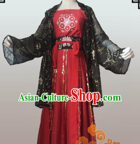 Chinese Traditional Cosplay Swordswoman Fairy Dress Custom Ancient Tang Dynasty Young Lady Costume for Women