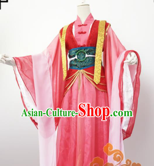 Chinese Traditional Cosplay Court Maid Pink Dress Custom Ancient Swordswoman Princess Costume for Women