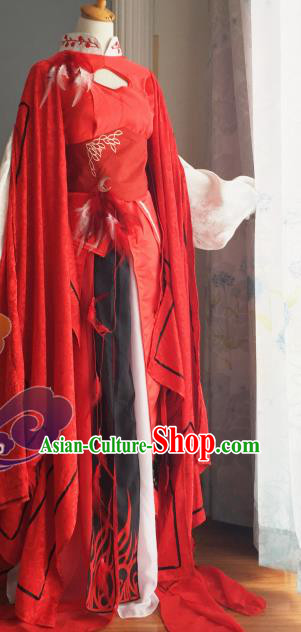 Chinese Traditional Cosplay Fairy Princess Red Dress Custom Ancient Swordswoman Costume for Women