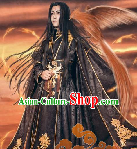 Custom Chinese Ancient Cosplay Taoist Priest Swordsman Black Clothing Traditional Royal Highness Costume for Men