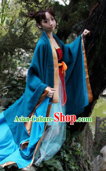 Chinese Traditional Cosplay Imperial Consort Fairy Princess Blue Dress Custom Ancient Swordswoman Costume for Women