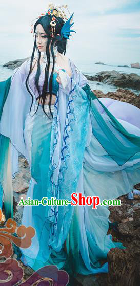 Chinese Traditional Cosplay Young Heroine Green Dress Custom Ancient Fairy Swordswoman Costume for Women