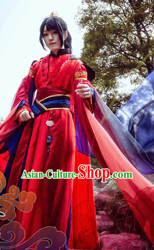 Custom Chinese Ancient Prince Taoist Priest Red Clothing Traditional Cosplay Knight Swordsman Costume for Men