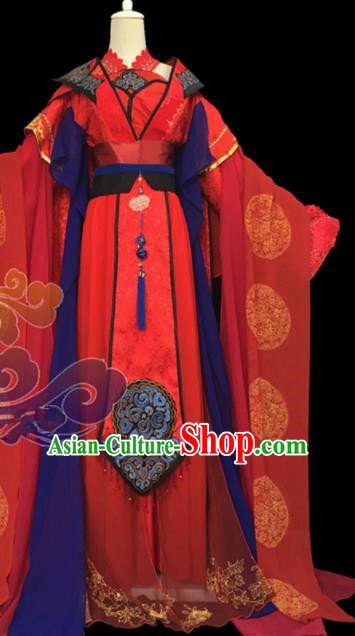 Traditional Chinese Cosplay Court Princess Wedding Red Dress Ancient Swordswoman Costume for Women