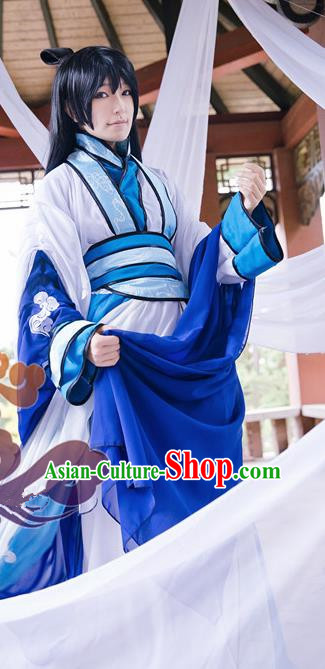 Custom Chinese Ancient Young Male Taoist Priest Clothing Traditional Cosplay Knight Swordsman Costume for Men