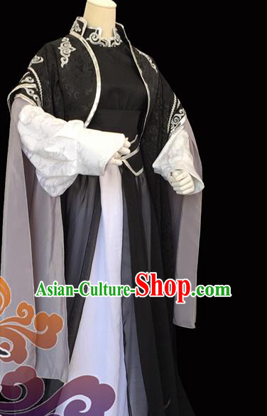 Custom Chinese Ancient King Taoist Priest Black Clothing Traditional Cosplay Knight Swordsman Costume for Men