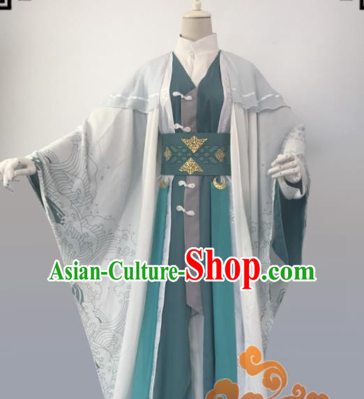 Chinese Ancient Cosplay Taoist Priest Swordsman Green Clothing Custom Traditional Nobility Childe Costume for Men