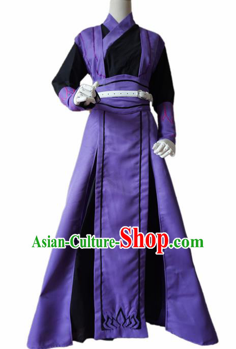 Chinese Ancient Cosplay Swordsman Purple Clothing Custom Traditional Royal Prince Costume for Men