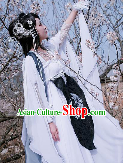 Traditional Chinese Cosplay Princess Consort White Dress Ancient Court Lady Swordswoman Costume for Women