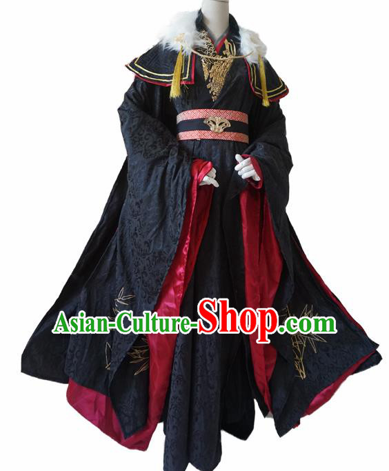 Chinese Ancient Cosplay Swordsman Black Clothing Custom Traditional Royal Highness Costume for Men