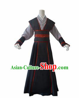 Chinese Ancient Cosplay Swordsman Young Knight Black Clothing Custom Traditional Nobility Childe Costume for Men
