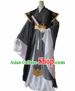 Chinese Ancient Cosplay Young Knight Swordsman Black Clothing Custom Traditional Nobility Childe Costume for Men