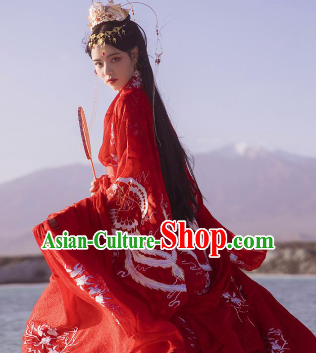 Ancinet Chinese Tang Dynasty Palace Princess Red Hanfu Dress Traditional Court Wedding Replica Costumes for Women