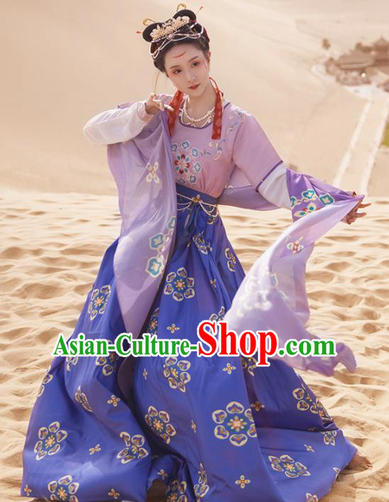 Ancinet Chinese Tang Dynasty Flying Apsaras Dance Purple Hanfu Dress Traditional Imperial Consort Replica Costumes for Women