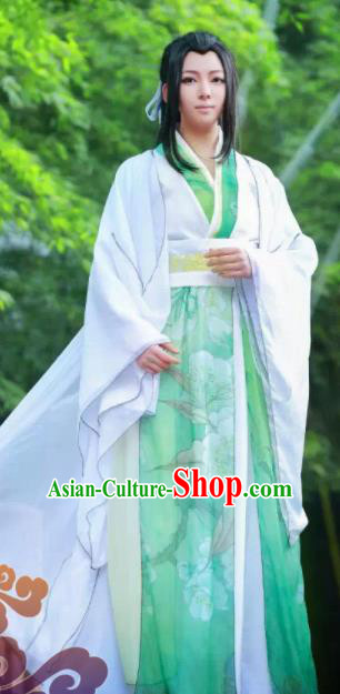 Custom Chinese Ancient King Prince Green Clothing Traditional Cosplay Swordsman Costume for Men