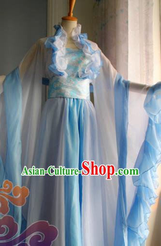 Traditional Chinese Cosplay Young Lady Fairy Blue Dress Ancient Swordswoman Costume for Women