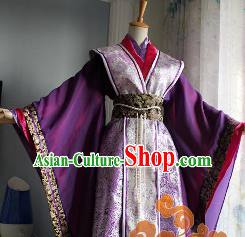 Traditional Chinese Cosplay Queen Purple Dress Ancient Swordswoman Costume for Women