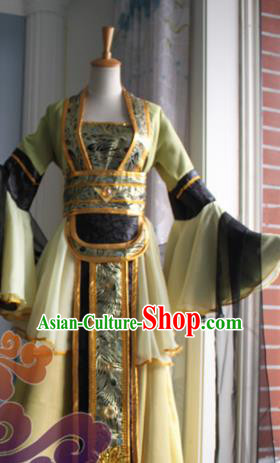 Traditional Chinese Cosplay Fairy Court Maid Yellow Dress Ancient Swordswoman Costume for Women