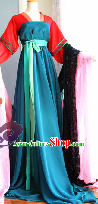 Traditional Chinese Cosplay Fairy Court Maid Deep Blue Dress Ancient Swordswoman Costume for Women