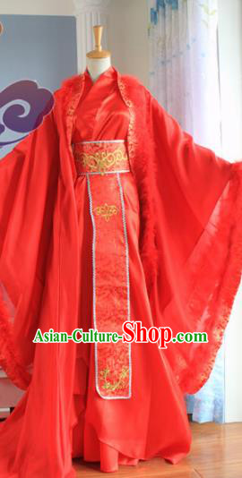 Custom Chinese Ancient Royal Prince Hua Rong Red Clothing Traditional Cosplay Swordsman Wedding Costume for Men