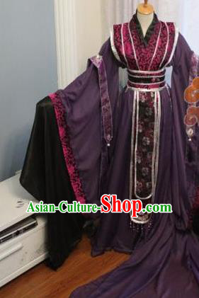 Custom Chinese Ancient Crown Prince Purple Clothing Traditional Cosplay Emperor Swordsman Costume for Men