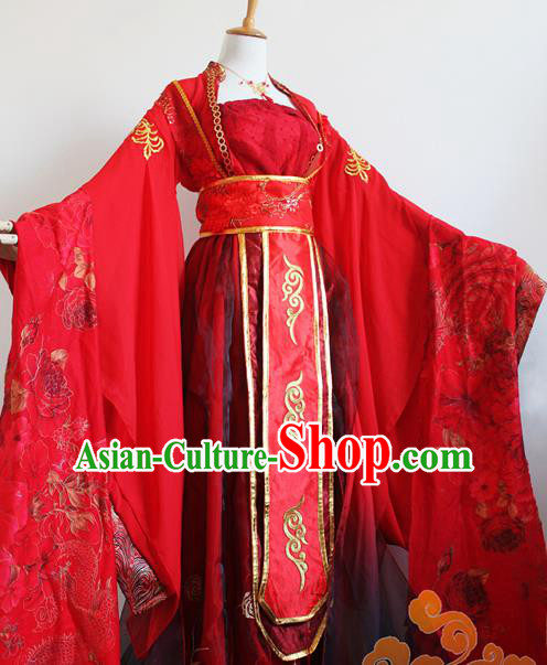 Traditional Chinese Cosplay Princess Consort Red Dress Ancient Court Lady Swordswoman Wedding Costume for Women