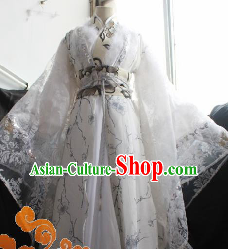 Custom Chinese Ancient Crown Prince Nobility Childe White Clothing Traditional Cosplay Emperor Swordsman Costume for Men