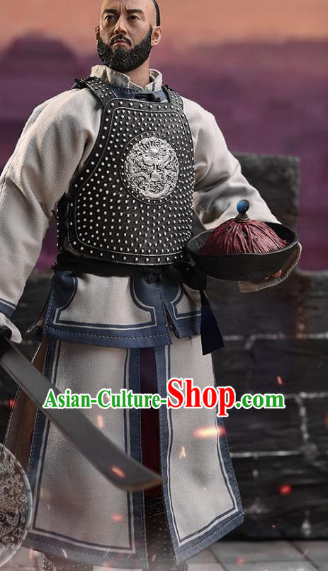 Chinese Ancient Soldier Armor and Helmet Traditional Qing Dynasty Imperial Bodyguard Costumes Complete Set for Men
