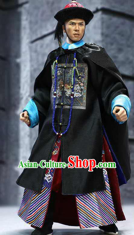 Chinese Ancient Guangzhou Minister Clothing Traditional Qing Dynasty Admiral Costumes and Hat Complete Set for Men