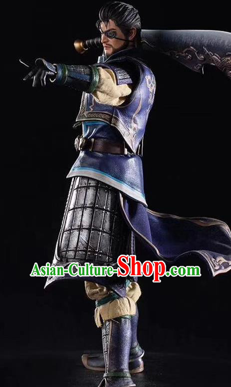 Chinese Ancient Cosplay General Xia Houdun Armor and Helmet Traditional Military Officer Costumes Complete Set for Men