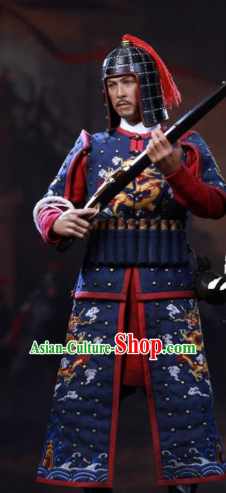 Chinese Ancient Cosplay Manchu General Navy Armor and Helmet Traditional Qing Dynasty Military Officer Costumes Complete Set for Men