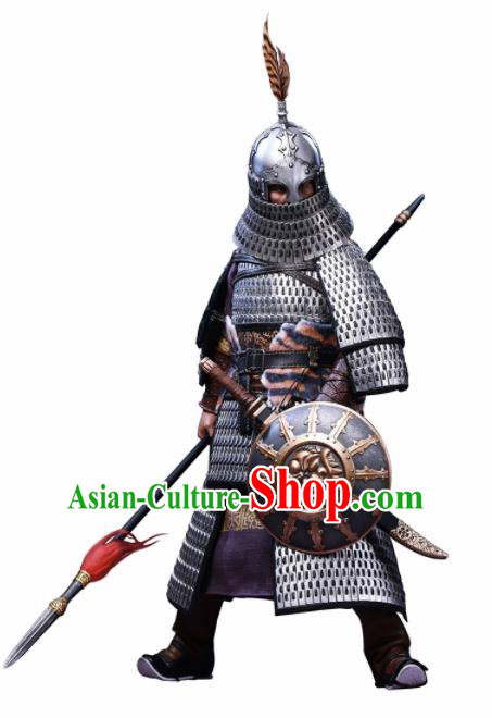 Chinese Ancient Cosplay General Argent Armor and Helmet Traditional Yuan Dynasty Military Officer Costumes Complete Set for Men