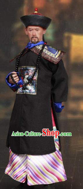 Chinese Ancient Minister Clothing Traditional Qing Dynasty Grand Secretary Costumes and Hat Complete Set for Men