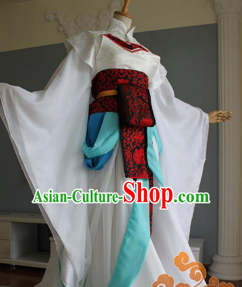 Traditional Chinese Cosplay Court Imperial Consort White Dress Ancient Fairy Swordswoman Costume for Women