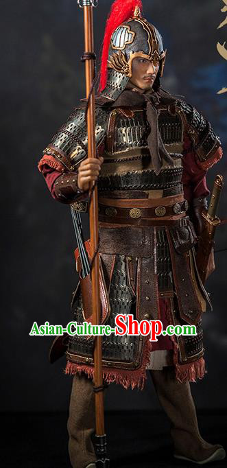 Chinese Ancient Cosplay General Yue Fei Armor and Helmet Traditional Song Dynasty Military Officer Costumes Complete Set for Men