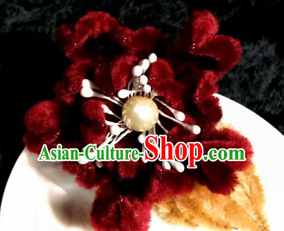 Handmade Chinese Ancient Qing Dynasty Wine Red Velvet Chrysanthemum Hairpins Traditional Court Hanfu Hair Accessories for Women