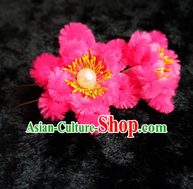 Handmade Chinese Ancient Qing Dynasty Rosy Velvet Hibiscus Hairpins Traditional Court Hanfu Hair Accessories for Women