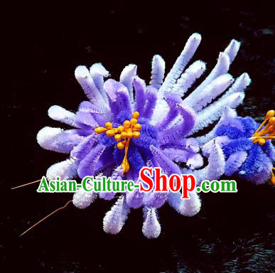 Chinese Ancient Qing Dynasty Lilac Velvet Chrysanthemum Hairpins Traditional Court Hanfu Hair Accessories for Women