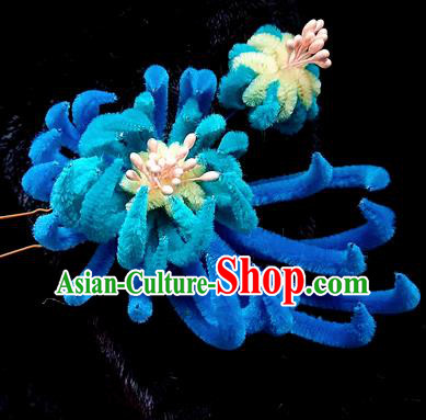 Chinese Handmade Qing Dynasty Royalblue Velvet Chrysanthemum Hairpins Traditional Ancient Court Hanfu Hair Accessories for Women